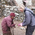 Meeting a nunn on the way to Everest Base Camp